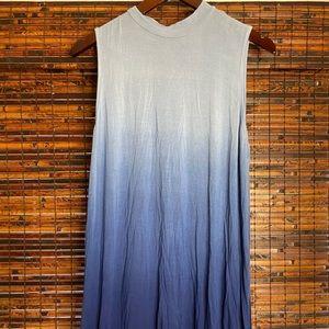 Blue Ombré Mock Neck Swing Dress